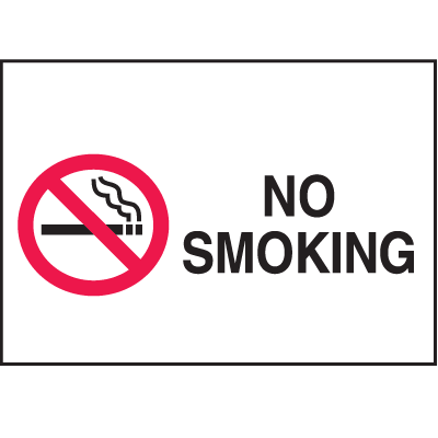 No Smoking Signs - Aluminum, Plastic or Vinyl (w/Graphic)