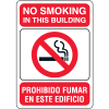 "No Smoking in This Building - 10""W x 7""H Bilingual Signs"