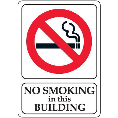 "No Smoking In This Building - 7""W x 10""H Interior Signs"