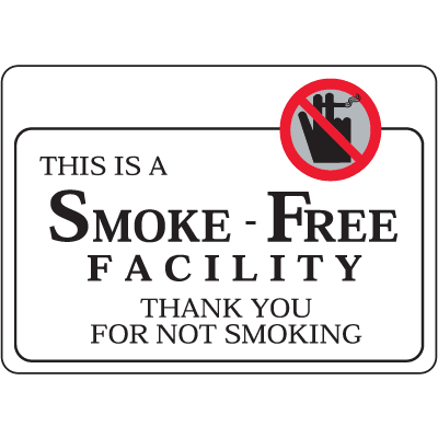 "This Is A Smoke-Free Facility - 7""W x 5""H Interior Signs w/Graphic"