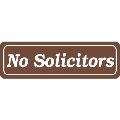 Interior Decor Security Signs - No Solicitors