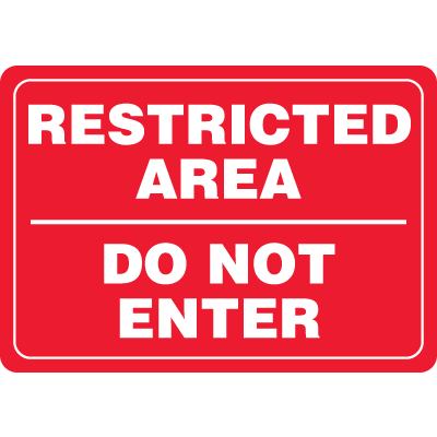 Restricted Area Do Not Enter Interior Decor Security Signs