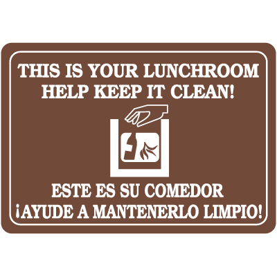 Your Lunch Room Keep It Clean Bilingual Interior Signs