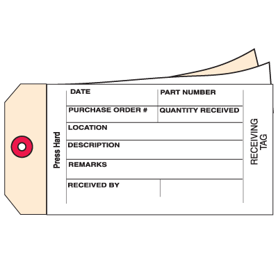 3-Part Carbonless Receiving Inventory Tags