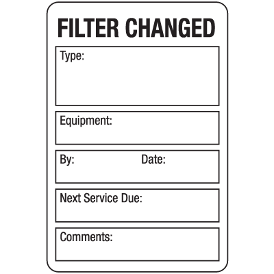 Fliter Changed ISO 9000 Labels