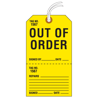 Jumbo Cardstock Tear-Off Safety Tags - Out of Order