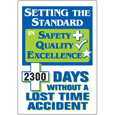 Jumbo Dial-A-Day Safety Scoreboard - Without Lost Time Accident