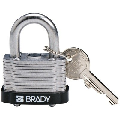 Brady Key Retaining Keyed Different Three Quarter inch Shackle Steel Locks - Black - Part Number - 143136 - 1/Each