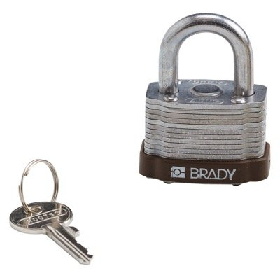Brady Key Retaining Keyed Different Three Quarter inch Shackle Steel Locks - Brown - Part Number - 123272 - 1/Each
