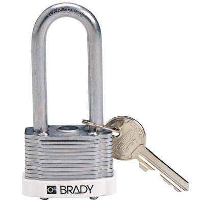 Brady Key Retaining Keyed Different 2 inch Shackle Steel Locks - White - Part Number - 143146 - 1/Each