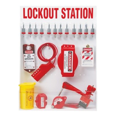 Brady Machine Isolation Lockout Station - Contains 46 Lockout Devices, Including Steel Keyed Different Padlocks
