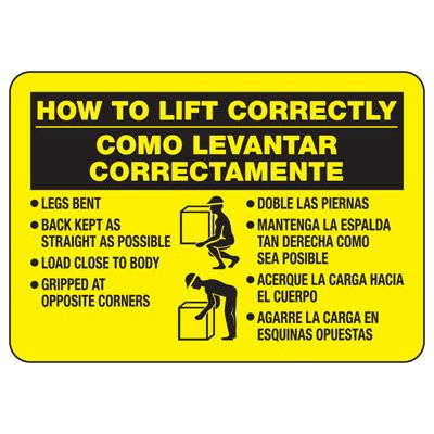 Bilingual How To Lift Correctly - Lifting Signs