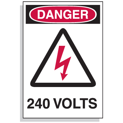 Lockout Hazard Warning Labels - Danger 240 Volts