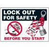 Lockout Hazard Warning Labels - Lock Out For Safety