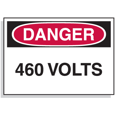 Lockout Hazard Warning Labels- Danger 460 Volts