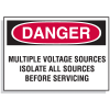 Lockout Hazard Warning Labels- Danger Multiple Voltage Sources