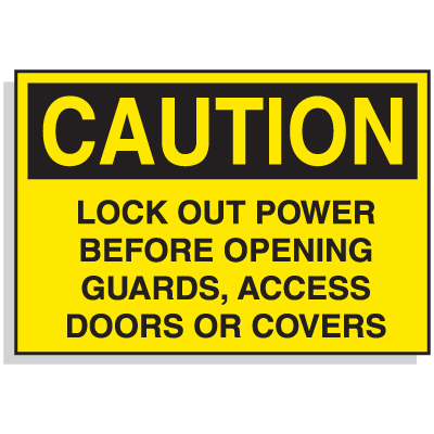 Lockout Hazard Warning Labels - Caution Lock Out Power Before Opening Guards, Access Doors Or Covers