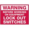 Lockout Hazard Warning Labels - Warning Before Working