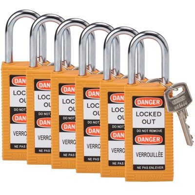 Brady Long Body Keyed Different One and Half inch Shackle Safety Locks - Orange - Part Number - 123400 - 6/Pack