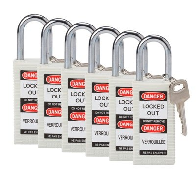 Brady Long Body Keyed Alike One and Half inch Shackle Safety Locks - White - Part Number - 123431 - 6/Pack