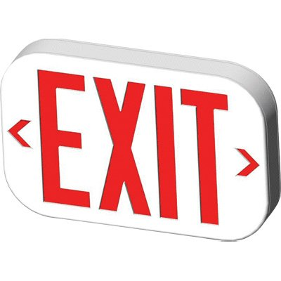 Economy Low Profile LED Exit Signs with Dual Pointing Arrows