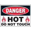 Machine Hazard Warning Labels - Danger Hot Do Not Touch