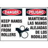 Machine Hazard Warning Labels - Bilingual - Danger Keep Hands Away