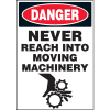 Machine Hazard Warning Labels - Danger Never Reach Into Moving Machinery