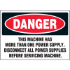Machine Hazard Warning Labels - Danger Disconnect Power Supplies Before Servicing