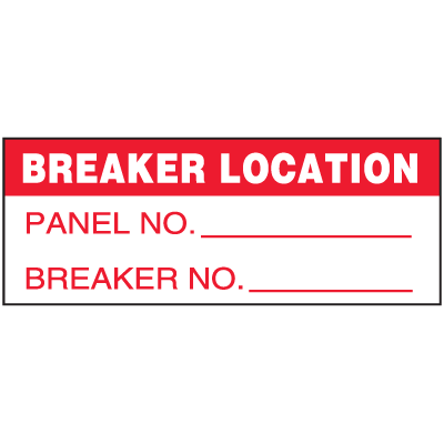 Machine Safety Write-On Labels - Breaker Location Panel/Breaker No.