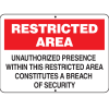 Maritime Security Signs - Restricted Area
