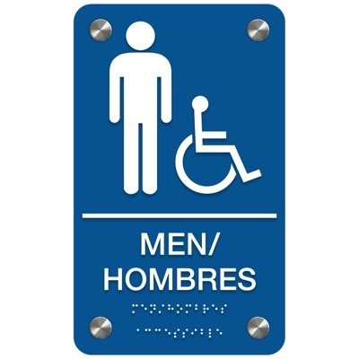Men (Accessibility) - Bilingual Premium ADA Restroom Signs