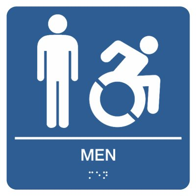 Men with Dynamic Accessibility Graphic - Graphic Braille Signs