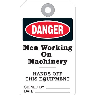 Men Working On Machinery - Accident Prevention Ultra Tag