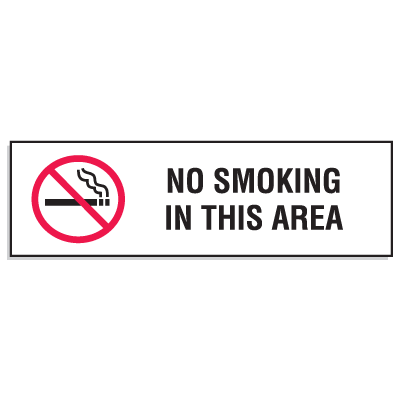 "Mini No Smoking Signs - 3""W x 10""H No Smoking In This Area"