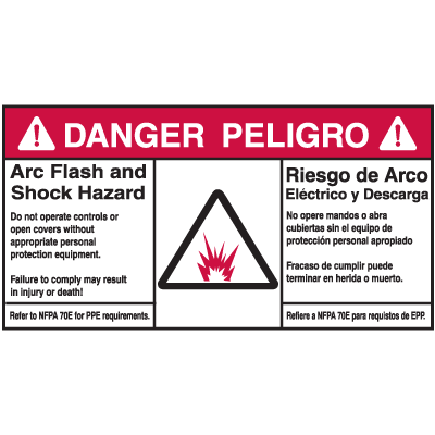 NEC Arc Flash Protection Labels - Bilingual - Arc Flash And Shock Hazard Danger/Peligro