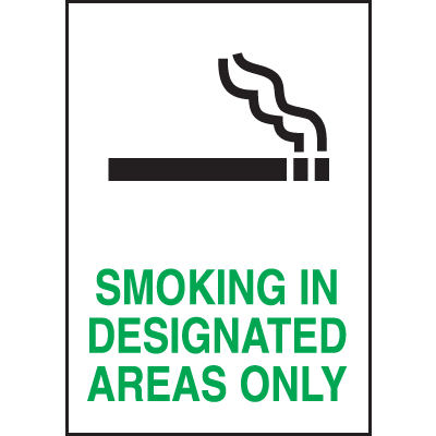 Smoking In Designated Areas Signs