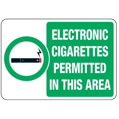 No Smoking Signs - Electronic Cigarettes Permitted In This Area