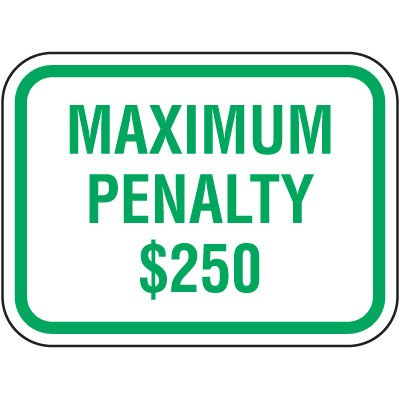 North Carolina State Handicap Signs - Maximum Penalty $250