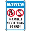 Notice No Camera, Cell Phone, Video Signs