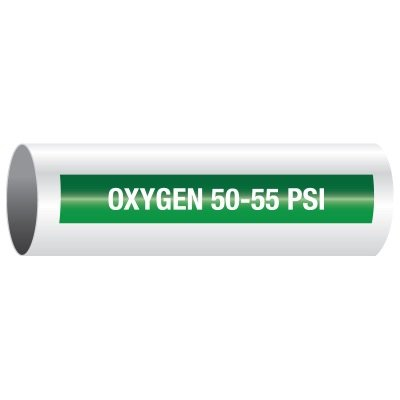 Opti-Code™ Self-Adhesive Medical Gas Pipe Markers - Oxygen 50-55 PSI