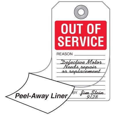 Out of Service - Self-Laminating Accident Prevention Tag