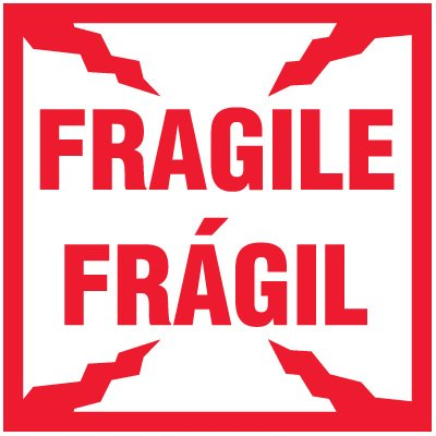 Bilingual Fragile Package Handling Label