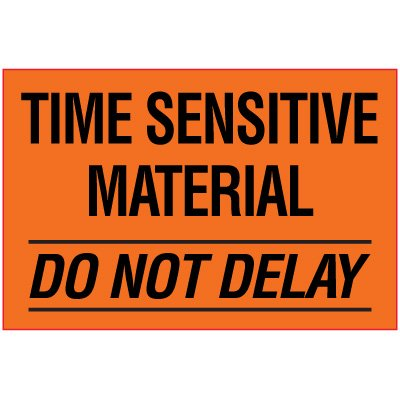 Time Sensitive Package Handling Label