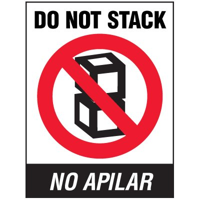 Bilingual Do Not Stack Package Handling Label