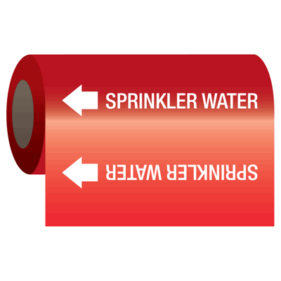 Self-Adhesive Pipe Markers-On-A-Roll - Sprinkler Water
