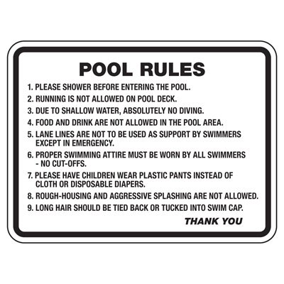 Pool Rules Please Shower - Pool Signs