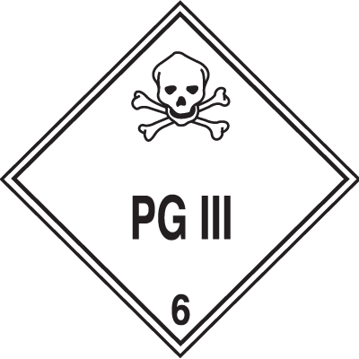 PG III Hazardous Material Placards