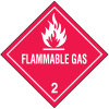 DOT Flammable Gas Hazard Class 2 Material Shipping Labels