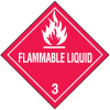 DOT Flammable Liquid Hazard Class 3 Material Shipping Labels